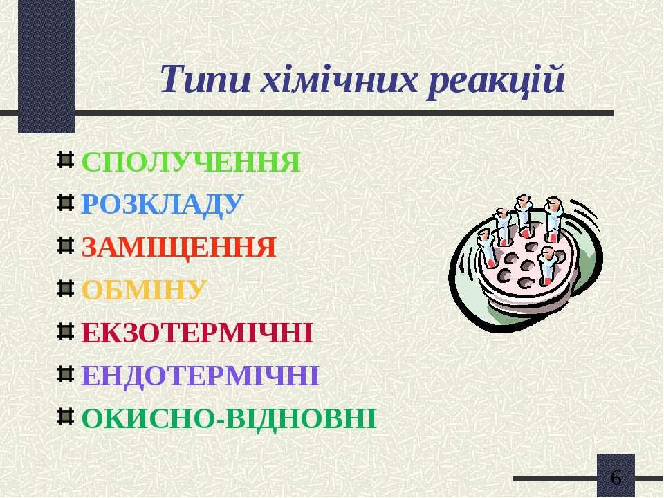 Типи хімічних реакцій СПОЛУЧЕННЯ РОЗКЛАДУ ЗАМІЩЕННЯ ОБМІНУ ЕКЗОТЕРМІЧНІ ЕНДОТ...
