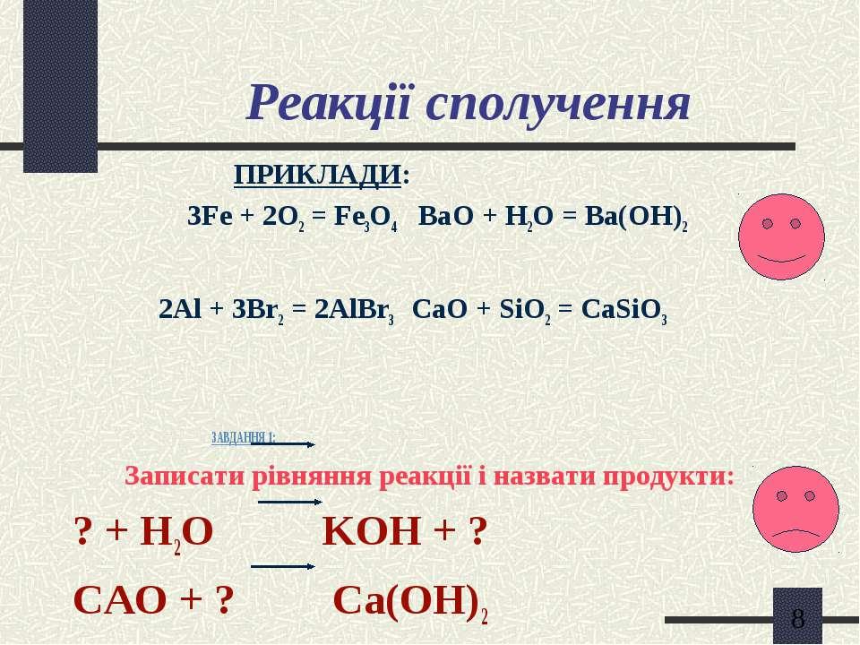 Реакції сполучення ПРИКЛАДИ: 3Fe + 2O2 = Fe3O4 BaО + H2O = Ba(OH)2 2Al + 3Br2...