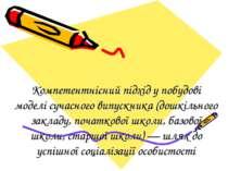 Компетентнісний підхід у побудові моделі сучасного випускника (дошкільного за...