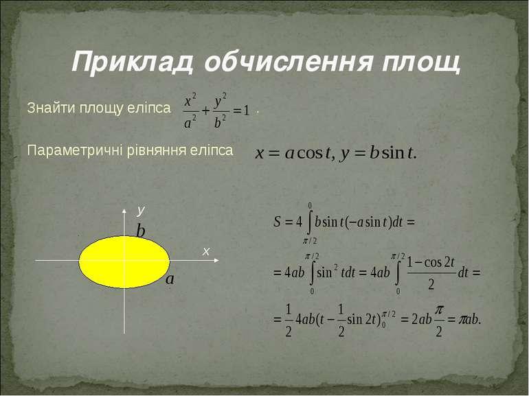 Знайти площу еліпса . Параметричні рівняння еліпса у х Приклад обчислення площ