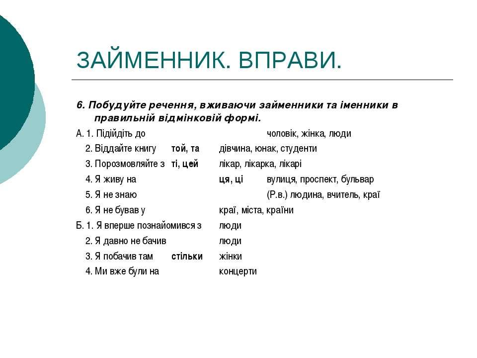 ЗАЙМЕННИК. ВПРАВИ. 6. Побудуйте речення, вживаючи займенники та іменники в пр...