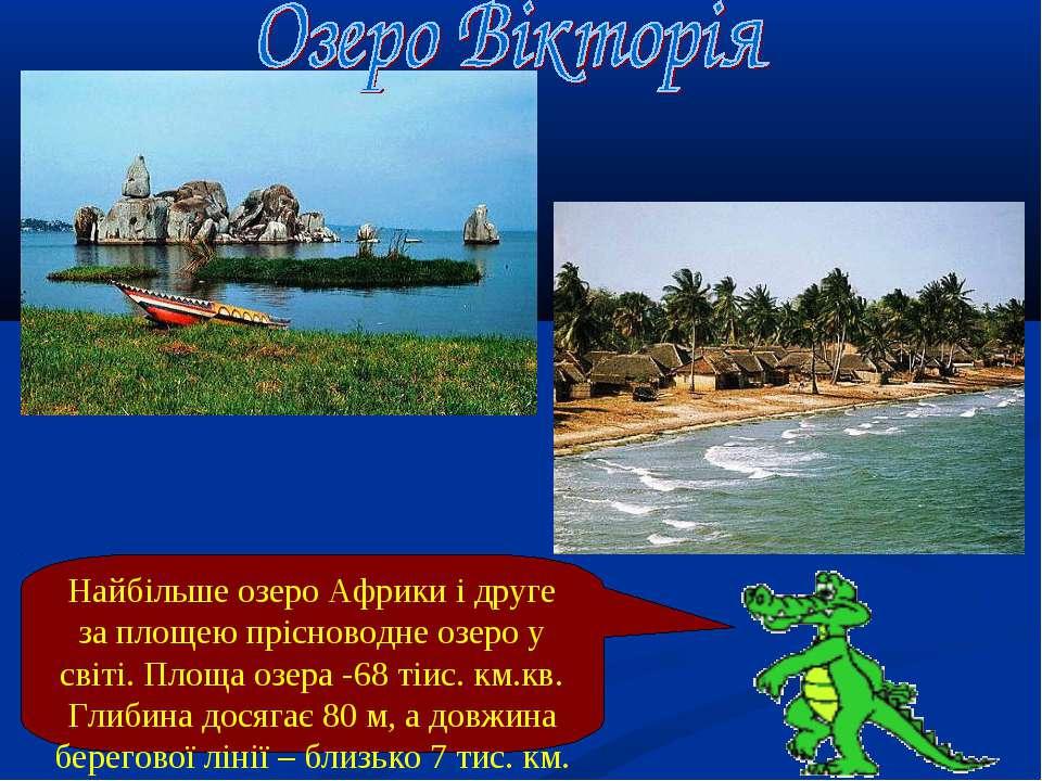 Найбільше озеро Африки і друге за площею прісноводне озеро у світі. Площа озе...