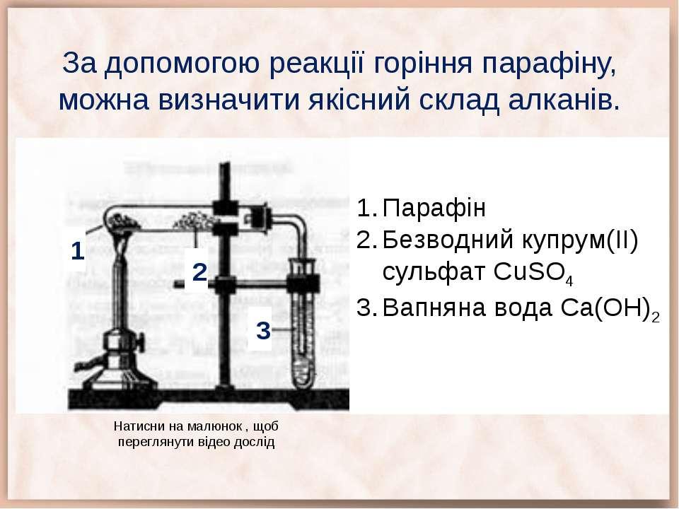 За допомогою реакції горіння парафіну, можна визначити якісний склад алканів....