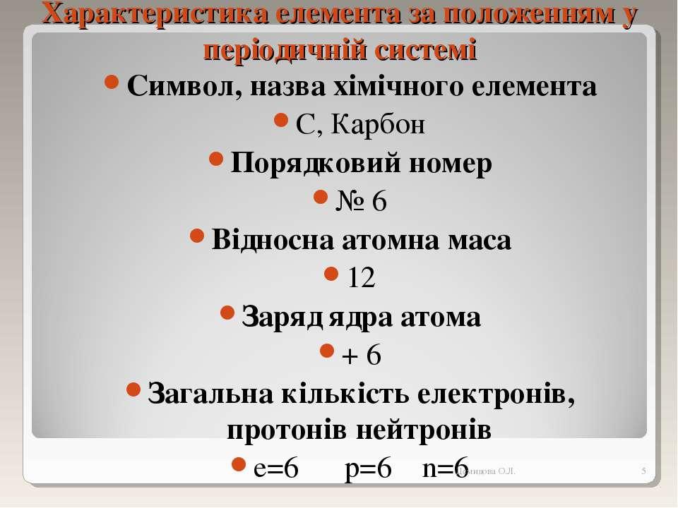 Характеристика елемента за положенням у періодичній системі Символ, назва хім...