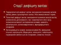 Стадії дефіциту заліза: Передлатентний дефіцит заліза: виснаження тканинних з...