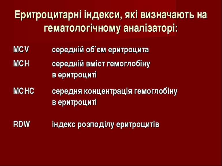 Еритроцитарні індекси, які визначають на гематологічному аналізаторі: MCV сер...
