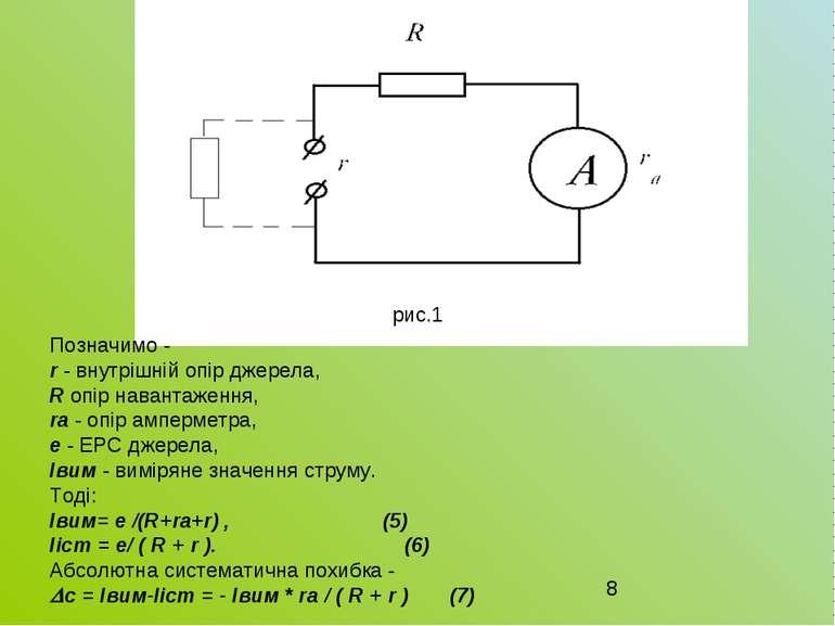 рис.1 Позначимо - r - внутрішній опір джерела, R опір навантаження, rа - опір...