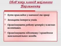 Обов'язки членів шкільного Парламенту Бути прикладом у навчанні та праці. Зах...