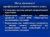 Мета діяльності профільного технологічного класу Створення системи якісної сп...