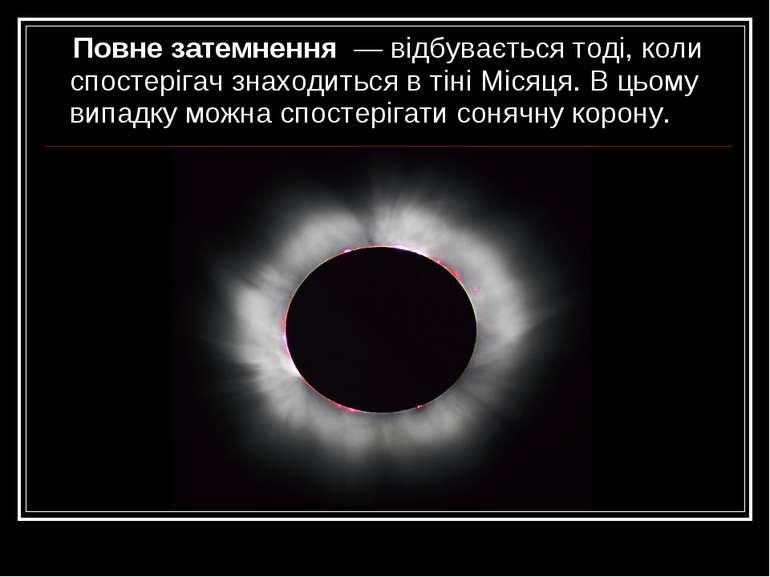 Повне затемнення— відбувається тоді, коли спостерігач знаходиться в тіні Мі...