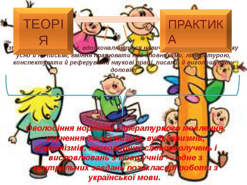 збагачується словник, вдосконалюються навички висловлювати думку усно й на пи...