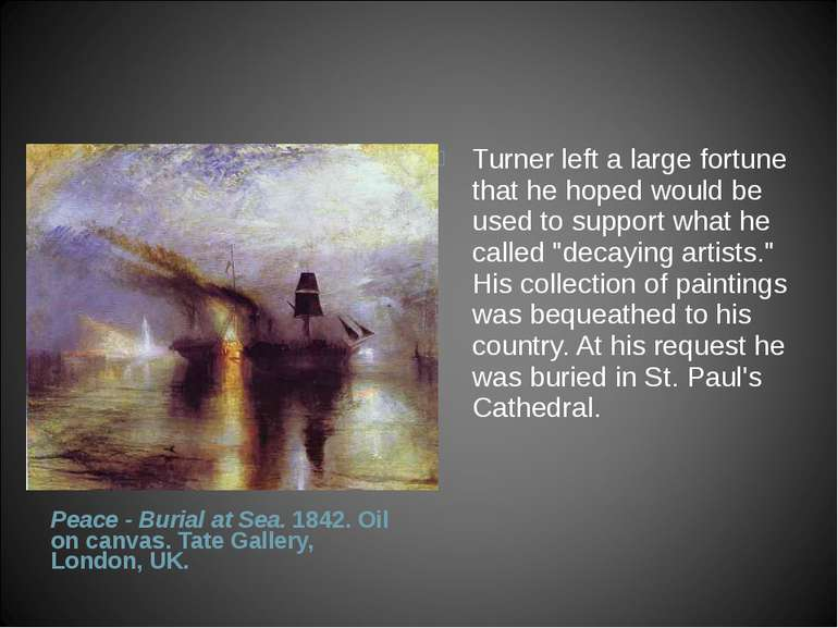 Peace - Burial at Sea. 1842. Oil on canvas. Tate Gallery, London, UK. Turner...