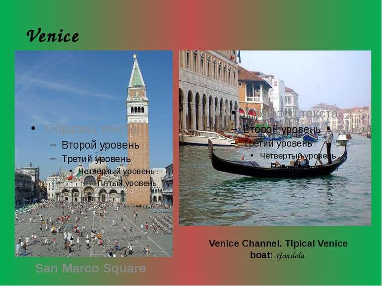 Venice San Marco Square Venice Channel. Tipical Venice boat: Gondola