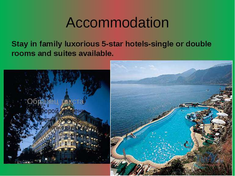 Accommodation Stay in family luxorious 5-star hotels-single or double rooms a...