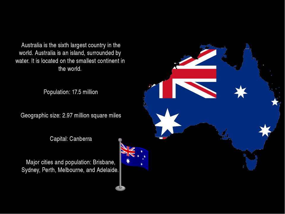Australia is the sixth largest country in the world. Australia is an island, ...