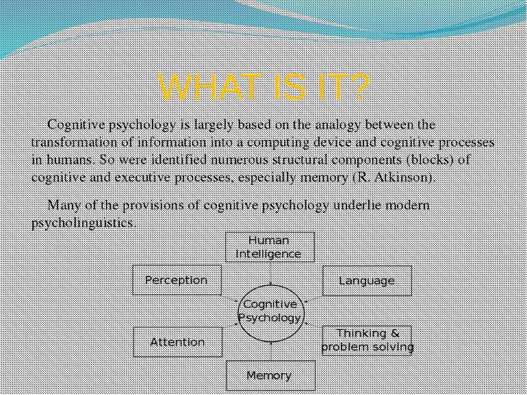 WHAT IS IT? Cognitive psychology is largely based on the analogy between the ...