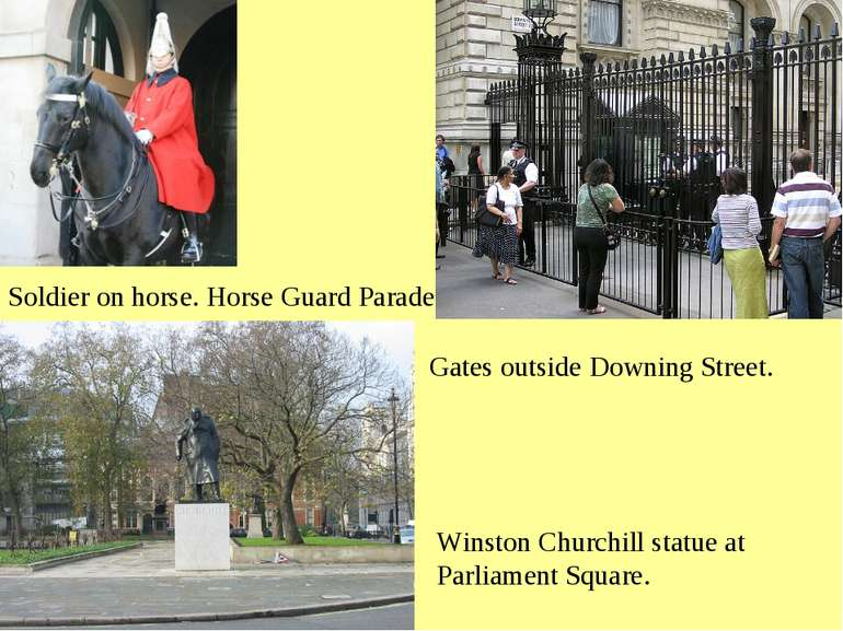 Soldier on horse. Horse Guard Parade Gates outside Downing Street. Winston Ch...