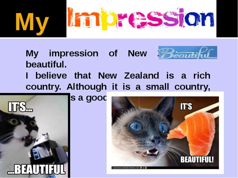 My My impression of New Zealand is beautiful. I believe that New Zealand is a...