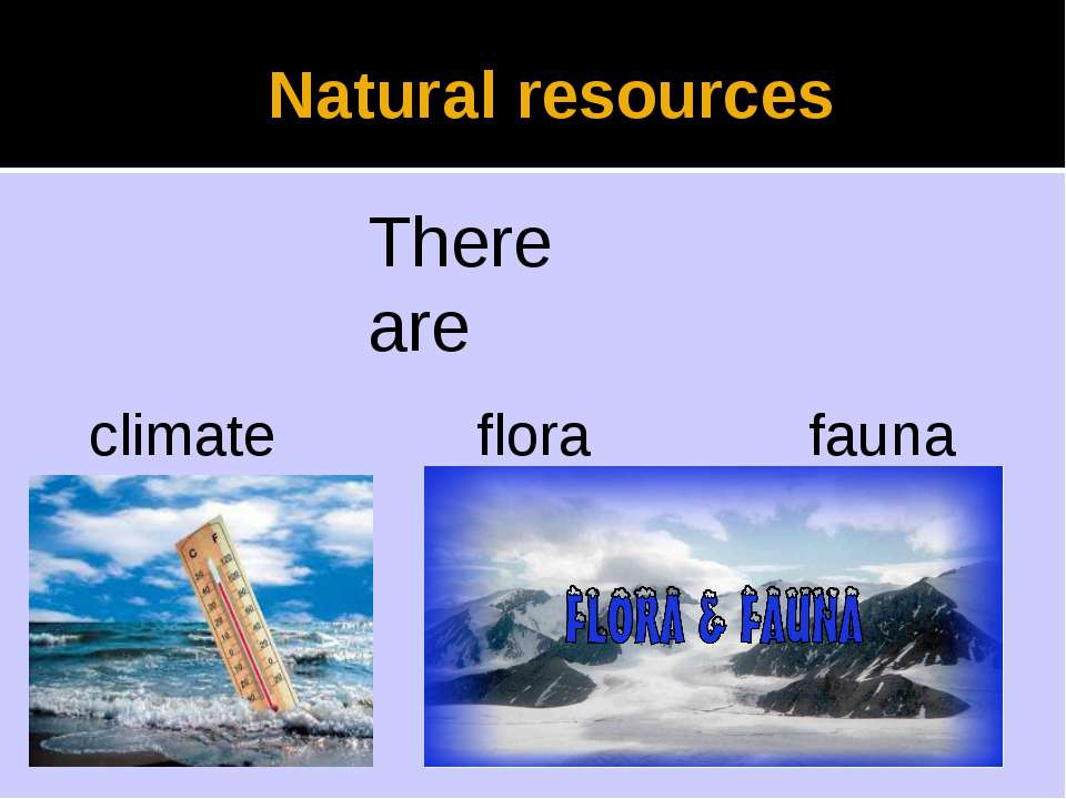 Natural resources There are climate flora fauna