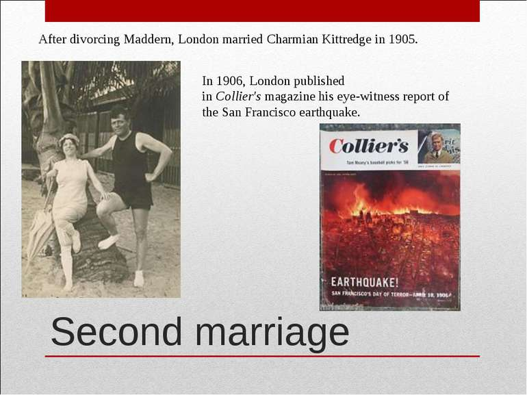 Second marriage After divorcing Maddern, London married Charmian Kittredge in...