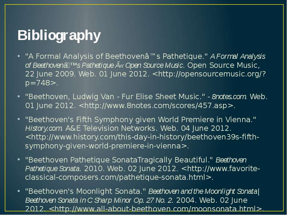"Bibliography ""A Formal Analysis of Beethovenâ™s Pathetique."" A Formal Analysi..."