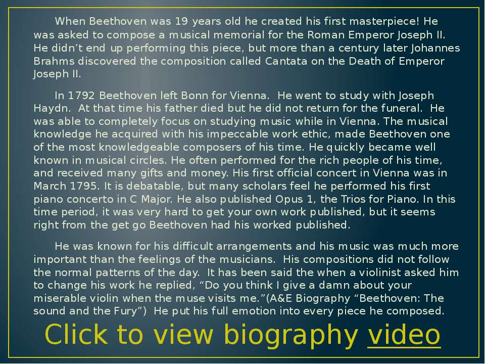 When Beethoven was 19 years old he created his first masterpiece! He was aske...