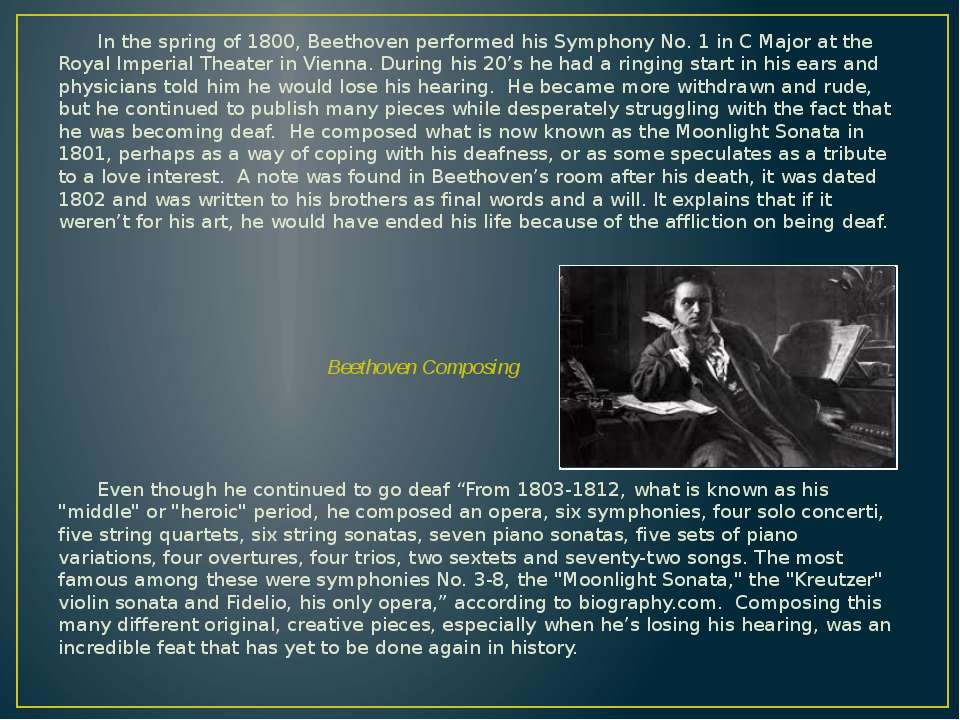 In the spring of 1800, Beethoven performed his Symphony No. 1 in C Major at t...