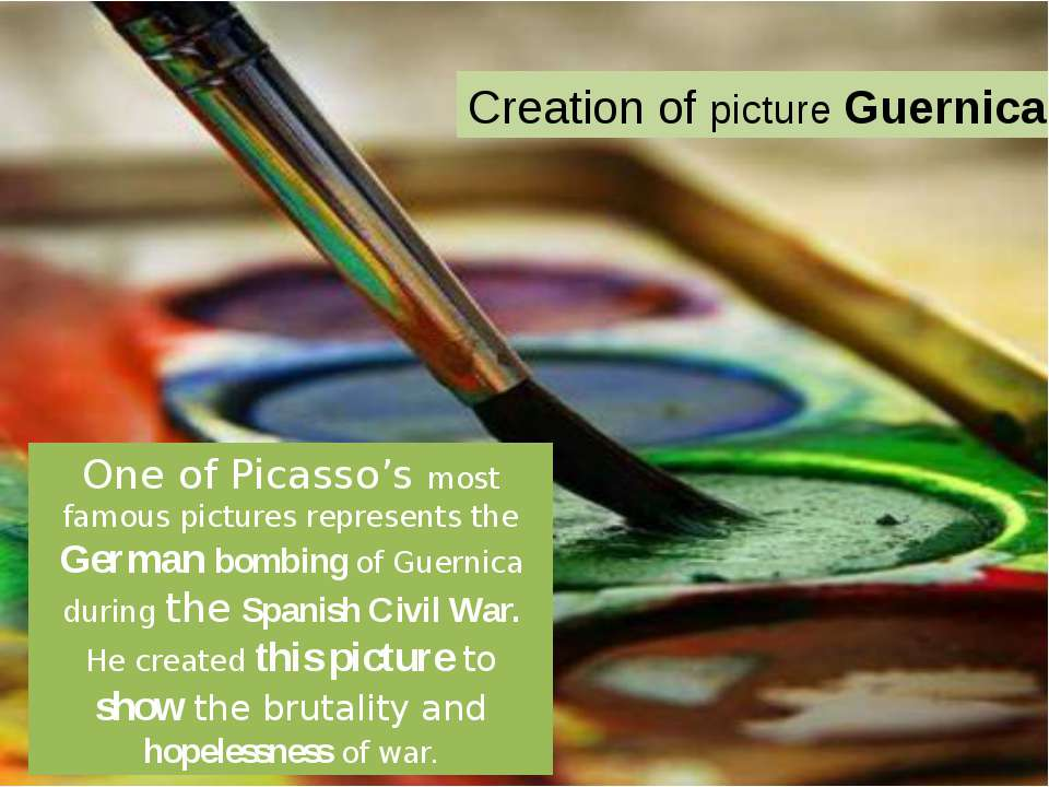 One of Picasso's most famous pictures represents the German bombing of Guerni...