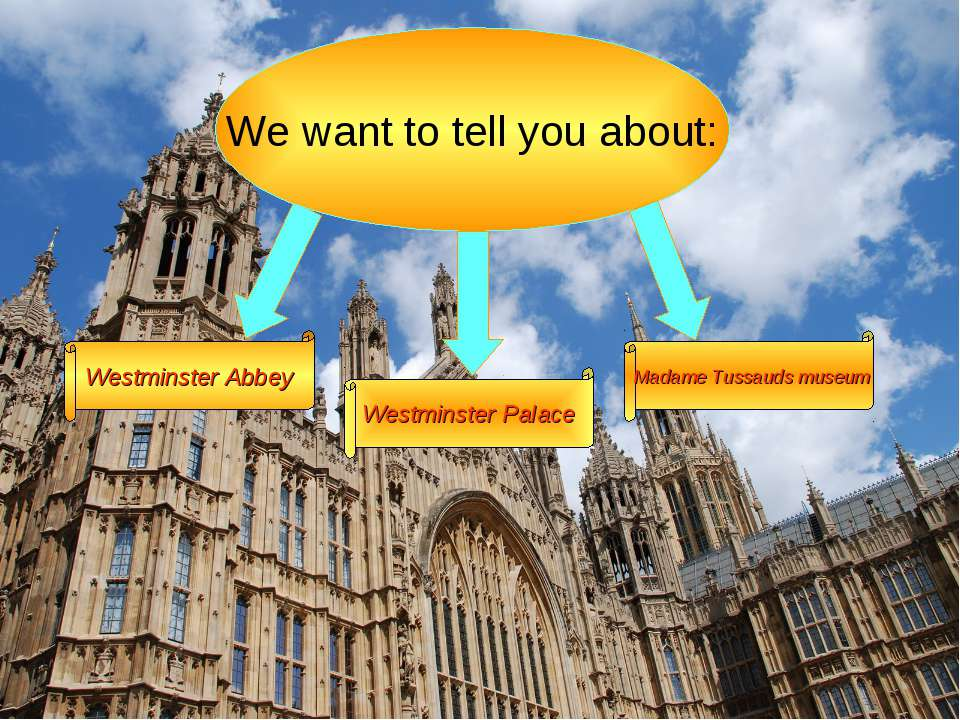 We want to tell you about: Westminster Abbey Westminster Palace Madame Tussau...