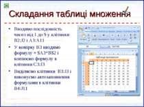 Складання таблиці множення Вводимо послідовність чисел від 1 до 9 у клітинки ...