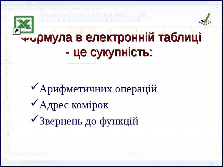 Формула в електронній таблиці - це сукупність: Арифметичних операцій Адрес ко...
