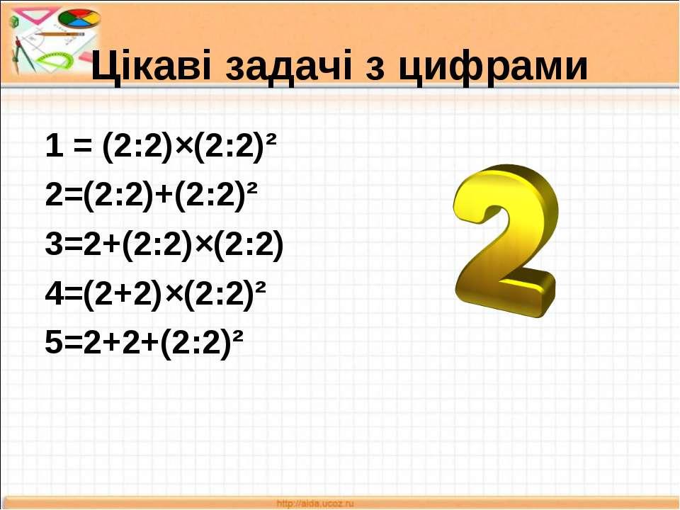 Цікаві задачі з цифрами 1 = (2:2)×(2:2)² 2=(2:2)+(2:2)² 3=2+(2:2)×(2:2) 4=(2+...
