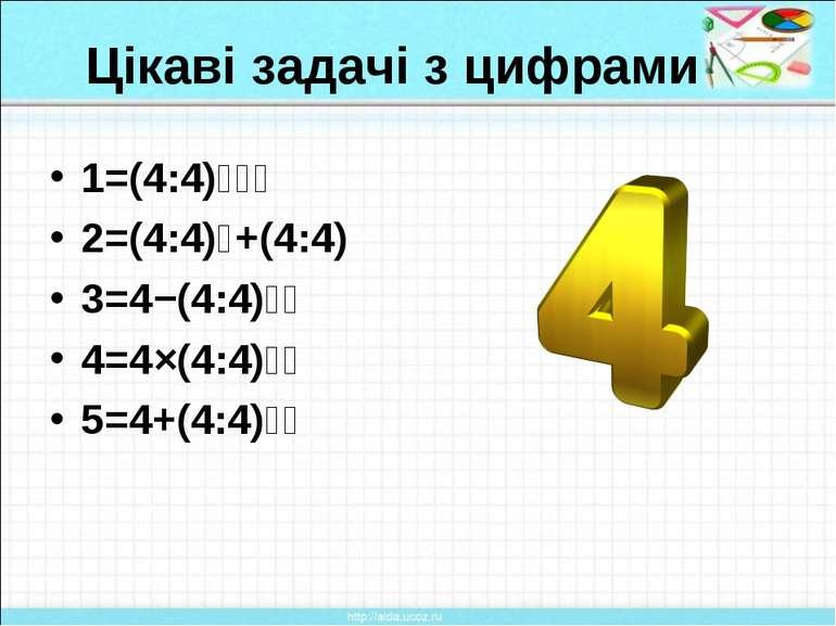 Цікаві задачі з цифрами 1=(4:4)⁴⁴⁴ 2=(4:4)⁴+(4:4) 3=4−(4:4)⁴⁴ 4=4×(4:4)⁴⁴ 5=4...