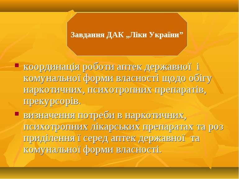 координація роботи аптек державної і комунальної форми власності щодо обігу н...