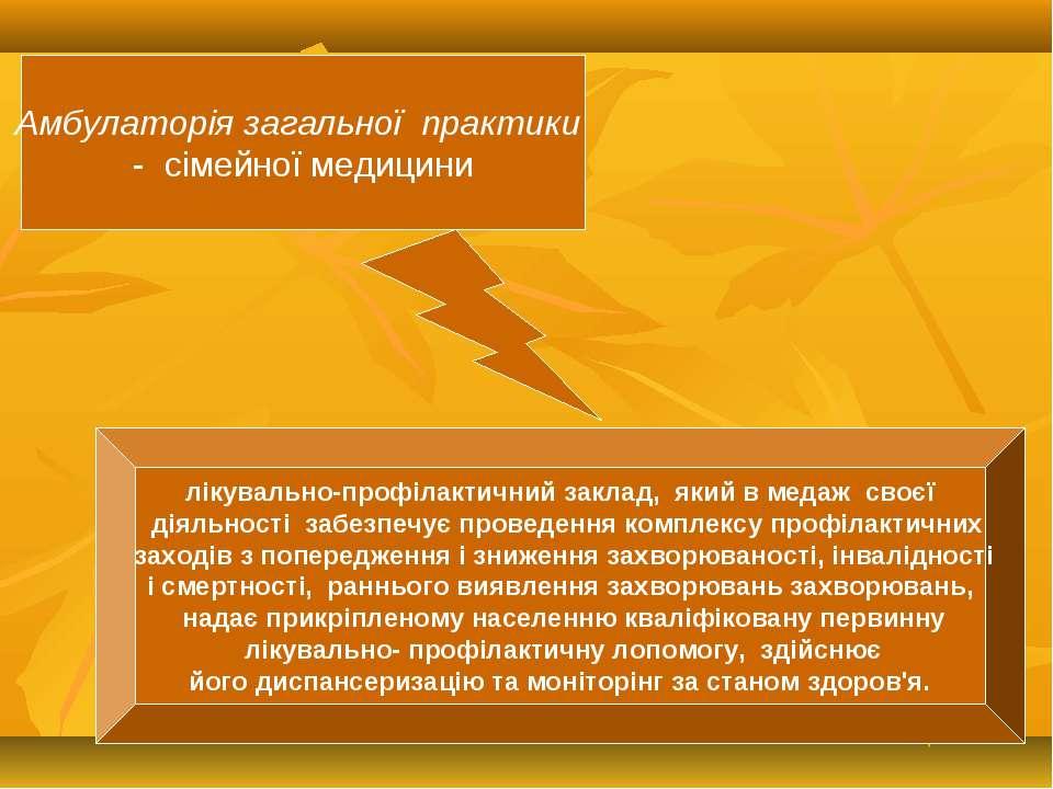Амбулаторiя загальної практики - сiмейної медицини лiкувально-профiлактичний ...