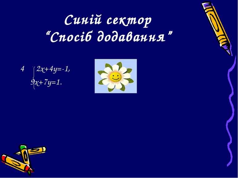 """Синій сектор """"Спосіб додавання"""" 2х+4у=-1, 9х+7у=1."""