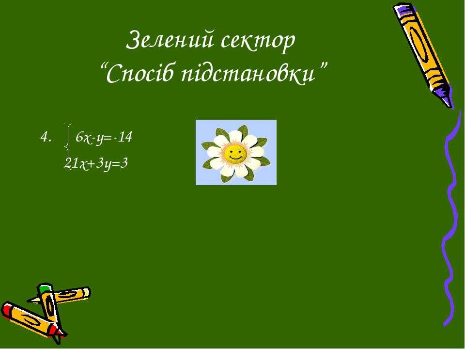 """Зелений сектор """"Спосіб підстановки"""" 6х-у=-14 21х+3у=3"""