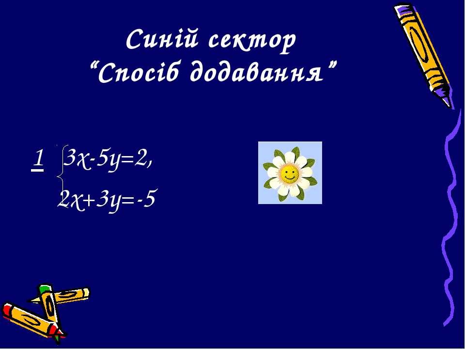 """Синій сектор """"Спосіб додавання"""" 1 3х-5у=2, 2х+3у=-5"""