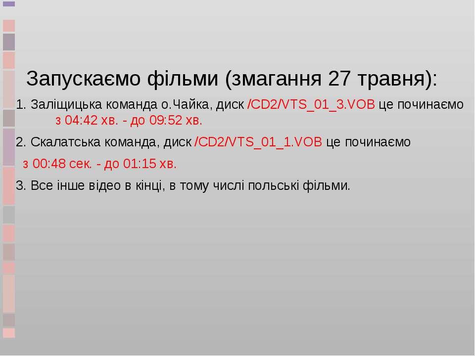 Запускаємо фільми (змагання 27 травня): 1. Заліщицька команда о.Чайка, диск /...
