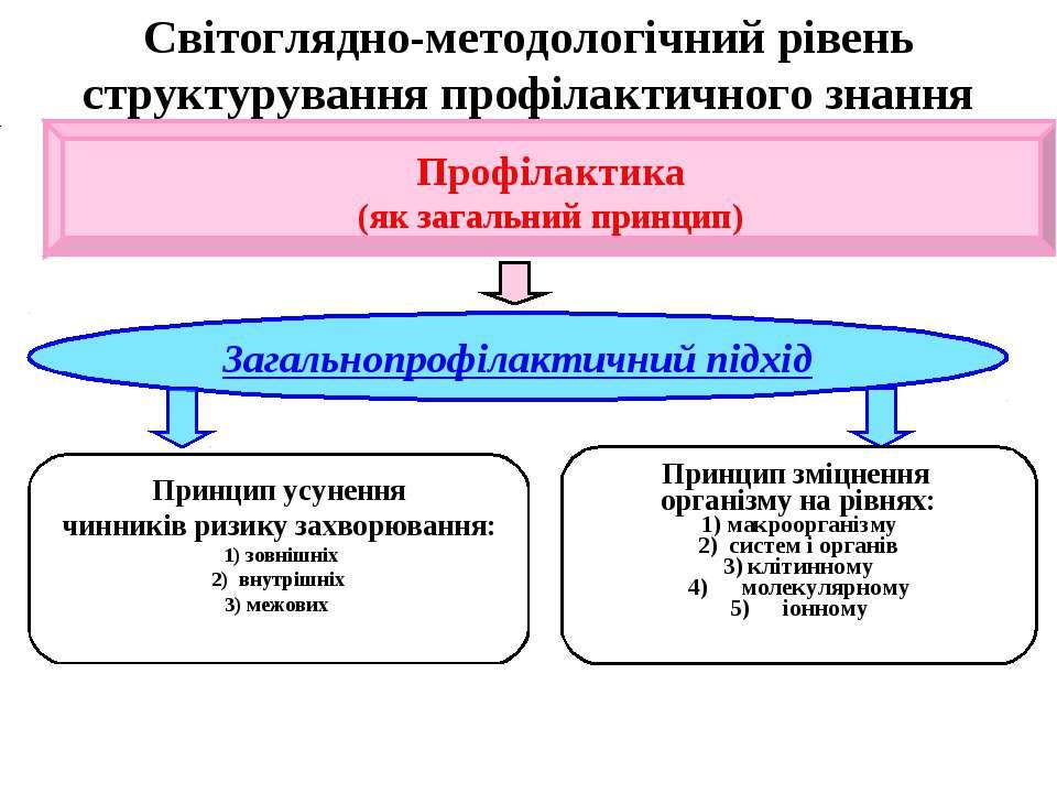 Світоглядно-методологічний рівень структурування профілактичного знання   ...