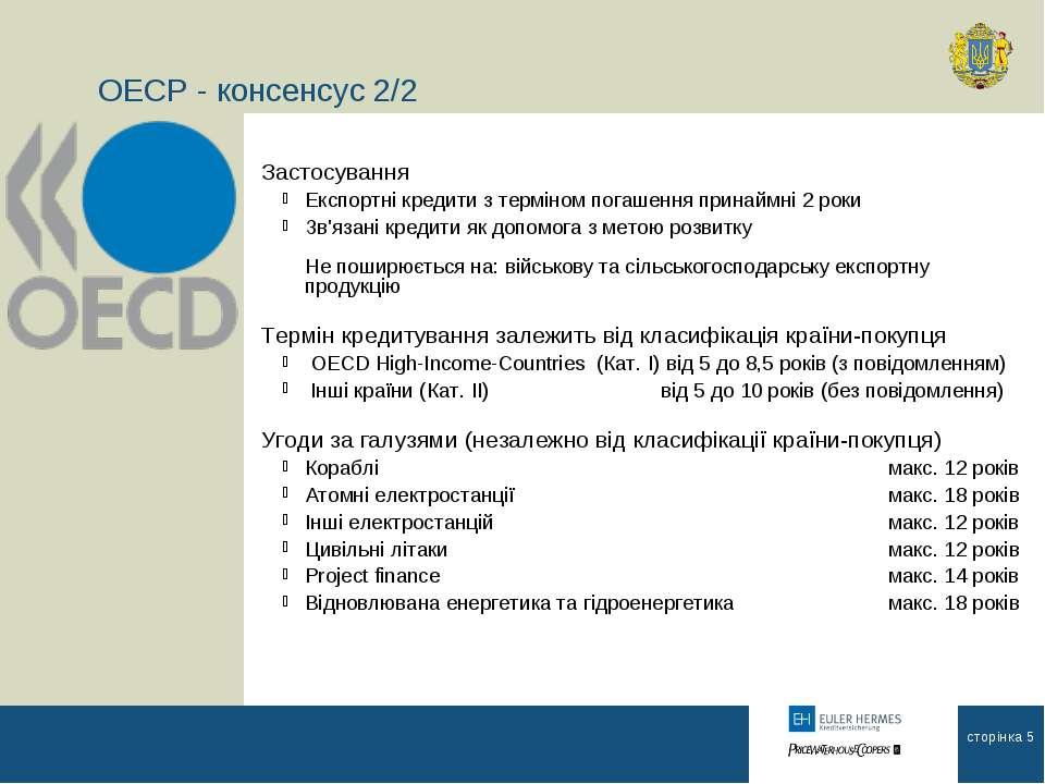 ОЕСР - консенсус 2/2 Застосування Експортні кредити з терміном погашення прин...