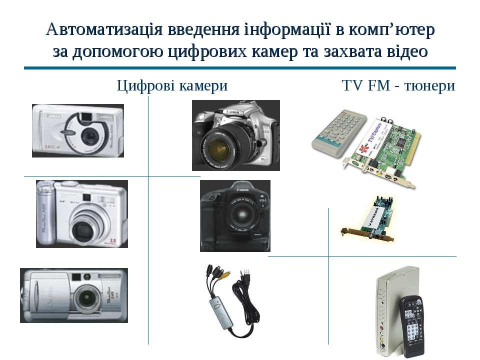 Автоматизація введення інформації в комп'ютер за допомогою цифрових камер та ...