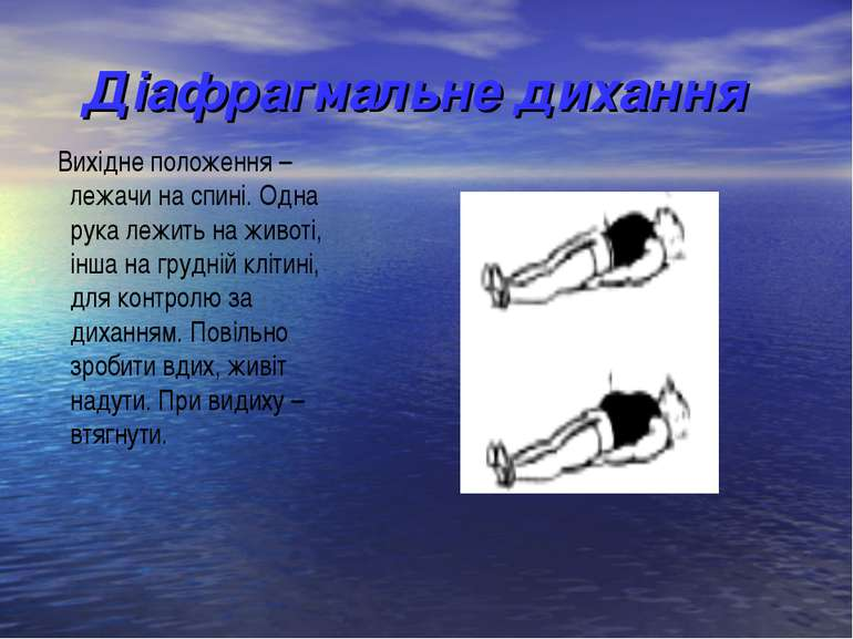 Діафрагмальне дихання Вихідне положення – лежачи на спині. Одна рука лежить н...