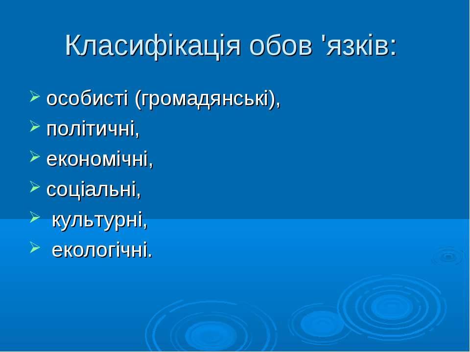 Класифікація обов 'язків: особисті (громадянські), політичні, економічні, соц...