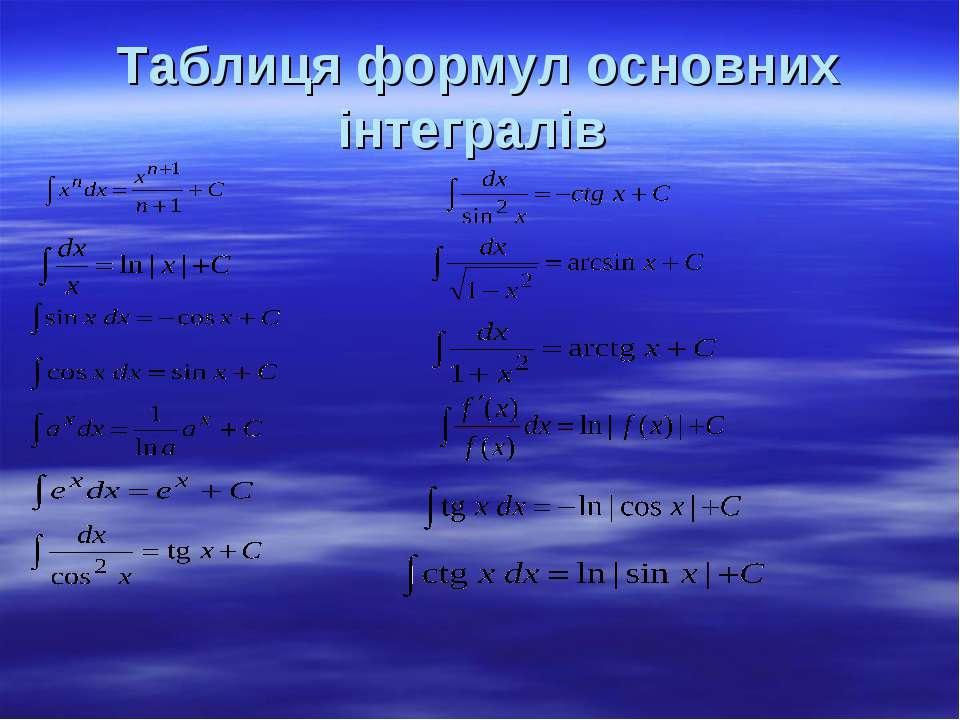 Таблиця формул основних інтегралів