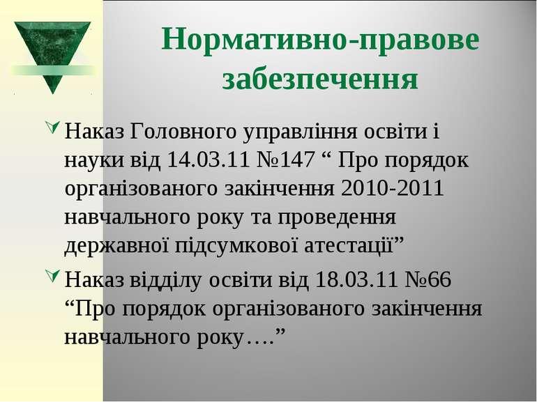 Нормативно-правове забезпечення Наказ Головного управління освіти і науки від...