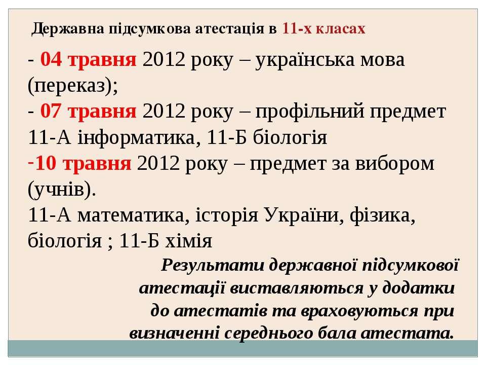 Державна підсумкова атестація в 11-х класах - 04 травня 2012 року – українськ...