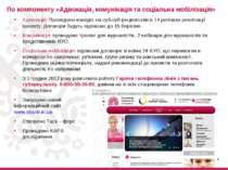 По компоненту «Адвокація, комунікація та соціальна мобілізація» Адвокація: Пр...