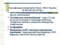 Класифікація пневмоній (( Наказ МОЗ України № 499 від 28.10.03р.) негоспіталь...