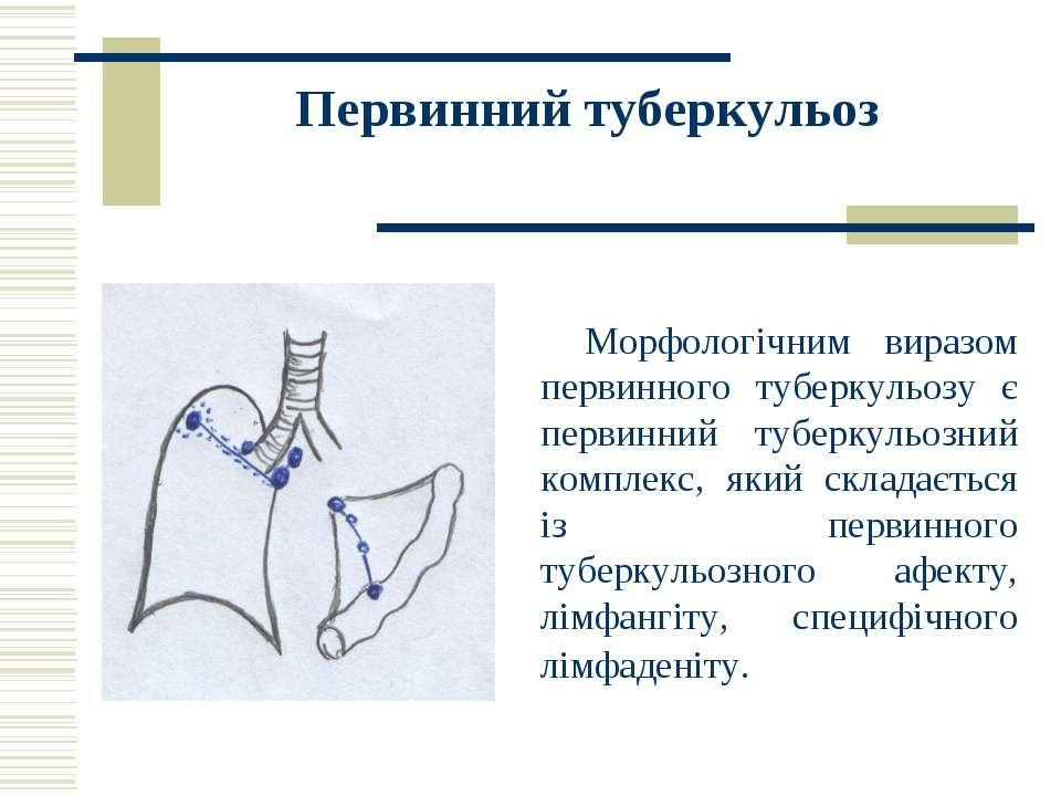 Первинний туберкульоз Морфологічним виразом первинного туберкульозу є первинн...